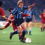 Football. UEFA Cup Final, Second Leg. Rome, Italy. 22nd May 1991. Roma 1 v Inter Milan 0 (Inter win 2-1 on aggregate). Inter Milan's Jurgen Klinsmann.