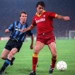 Football. UEFA Cup Final, Second Leg. Rome, Italy. 22nd May 1991. Roma 1 v Inter Milan 0 (Inter win 2-1 on aggregate). Roma's Thomas Berthold is about to be challenged by Inter's Lothar Matthaus.