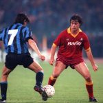 Football. UEFA Cup Final, Second Leg. Rome, Italy. 22nd May 1991. Roma 1 v Inter Milan 0 (Inter win 2-1 on aggregate). Roma's Thomas Berthold is challenged by Inter's Alessandro Bianchi.