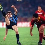 Football. UEFA Cup Final, Second Leg. Rome, Italy. 22nd May 1991. Roma 1 v Inter Milan 0 (Inter win 2-1 on aggregate). Inter Milan's Antonio Paganin clears the ball from Roma's Ruggerio Rizzitelli.