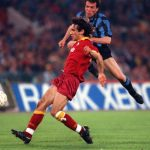 Football. UEFA Cup Final, Second Leg. Rome, Italy. 22nd May 1991. Roma 1 v Inter Milan 0 (Inter win 2-1 on aggregate). Inter Milan's Lothar Matthaus shoots past Roma's Fabrizio Di Mauro.
