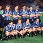Football. UEFA Cup Final, Second Leg. Rome, Italy. 22nd May 1991. Roma 1 v Inter Milan 0 (Inter win 2-1 on aggregate). The Inter Milan team line-up together for a group photograph. Back Row L-R: Walter Zenga, Jurgen Klinsmann, Nicola Berti, Riccardo Ferri