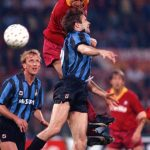 Football. UEFA Cup Final, Second Leg. Rome, Italy. 22nd May 1991. Roma 1 v Inter Milan 0 (Inter win 2-1 on aggregate). Roma's Ruggero Rizzitelli wins a header despite a challenge from Inter's Antonio Paganin.