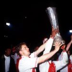 Sport. Football. UEFA Cup Final Second Leg. Amsterdam, Holland. 13th May 1992. Ajax 0 v Torino 0 (Ajax 2 v Torino 2 on aggregate, Ajax win on away goals). Ajax's Frank de Boer parades the trophy on a lap of honour.