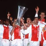 Sport. Football. UEFA Cup Final Second Leg. Amsterdam, Holland. 13th May 1992. Ajax 0 v Torino 0 (Ajax 2 v Torino 2 on aggregate, Ajax win on away goals). The victorious Ajax team celebrate with the trophy.