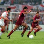 Football. UEFA Cup Final, Second Leg. Amsterdam, Holland. 13th May 1992. Ajax 0 v Torino 0 (Ajax win on away goals, first leg 2-2). Torino's Gianluigi Lentini is pursued by Ajax's Sonny Silooy.
