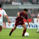 Football. UEFA Cup Final, Second Leg. Amsterdam, Holland. 13th May 1992. Ajax 0 v Torino 0 (Ajax win on away goals, first leg 2-2). Torino's Enzo Scifo moves forward.