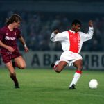 Football. UEFA Cup Final, Second Leg. Amsterdam, Holland. 13th May 1992. Ajax 0 v Torino 0 (Ajax win on away goals, first leg 2-2). Ajax's Aron Winter moves forward.