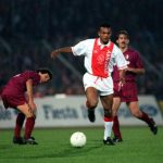 Football. UEFA Cup Final, Second Leg. Amsterdam, Holland. 13th May 1992. Ajax 0 v Torino 0 (Ajax win on away goals, first leg 2-2). Ajax's Marciano Vink moves away from the Torino defence.