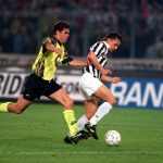 Football. UEFA Cup Final, Second Leg. Turin, Italy. 19th May 1993. Juventus 3 v Borussia Dortmund 0 (Juventus win 6-1 on aggregate). Roberto Baggio of Juventus is chased by Borussia Dortmund's Zelic.