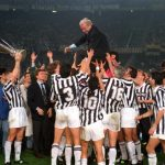 Football. UEFA Cup Final, Second Leg. Turin, Italy. 19th May 1993. Juventus 3 v Borussia Dortmund 0 (Juventus win 6-1 on aggregate). The Juventus team and officials lift coach Giovanni Trapattoni onto their shoulders as they celebrate with the trophy.