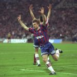 Thomas Helmer (centre) of Bayern Munich celebrates after scoring the first goal in the UEFA Cup Fina