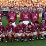 Football. UEFA Cup Final, Second Leg. France. 15th May 1996. Bordeaux 1 v Bayern Munich 3 (Bayern Munich win 5-1 on aggregate). The Bordeaux team pose together for a group photograph. Back Row L-R: Zinedine Zidane, Laurent Croci, Jean-Luc Dogon, Richard W