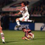 Football. UEFA Cup Final, Second Leg. France. 15th May 1996. Bordeaux 1 v Bayern Munich 3 (Bayern Munich win 5-1 on aggregate). Bayern Munich captain Lothar Matthaus is fouled.