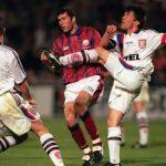 Football. UEFA Cup Final, Second Leg. France. 15th May 1996. Bordeaux 1 v Bayern Munich 3 (Bayern Munich win 5-1 on aggregate). Bayern Munich captain Lothar Matthaus clears from Bordeaux's Zinedine Zidane.