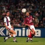 Football. UEFA Cup Final, Second Leg. France. 15th May 1996. Bordeaux 1 v Bayern Munich 3 (Bayern Munich win 5-1 on aggregate). Bordeaux's Christophe Dugarry crosses the ball watched by Bayern Munich's Markus Babbel.