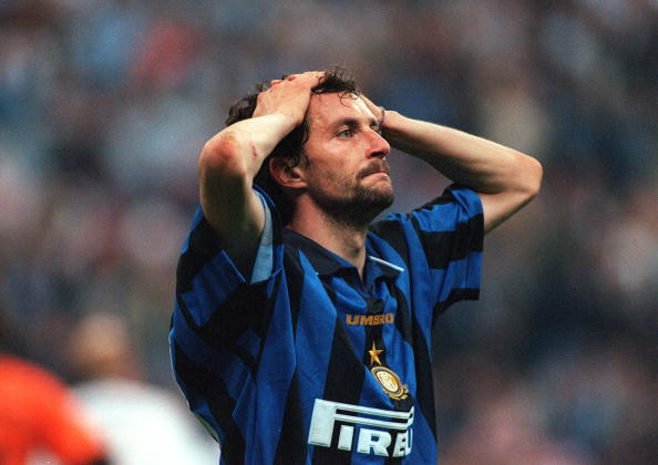 Football. UEFA Cup Final, Second Leg. Milan, Italy. 21st May 1997. Inter Milan 1 v Schalke 04 0 (1-1 on aggregate, after extra time, Schalke win 4-1 on penalties). Inter Milan's Mauricio Ganz holds his head in despair.