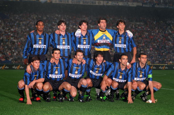 Football. UEFA Cup Final, Second Leg. Milan, Italy. 21st May 1997. Inter Milan 1 v Schalke 04 0 (1-1 on aggregate, after extra time, Schalke win 4-1 on penalties). The Inter Milan team line-up together for a group photograph. Back Row L-R: Paul Ince, Ciri