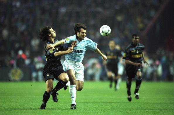 Pier Luigi Casiraghi of Lazio and Francesco Colonnese of Inter Milan