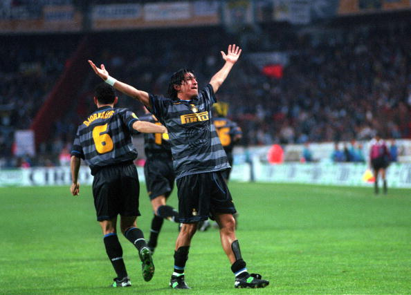 Football. UEFA Cup Final. Paris, France. 6th May 1998. Inter Milan 3 v Lazio 0. Inter Milan's Ivan Zamorano celebrates after scoring the first goal.