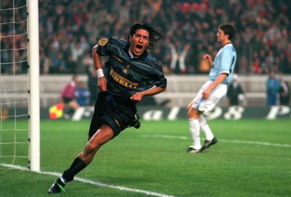 Football. UEFA Cup Final. Paris, France. 6th May 1998. Inter Milan 3 v Lazio 0. Inter Milan's Ivan Zamorano runs away to celebrate after scoring the first goal.