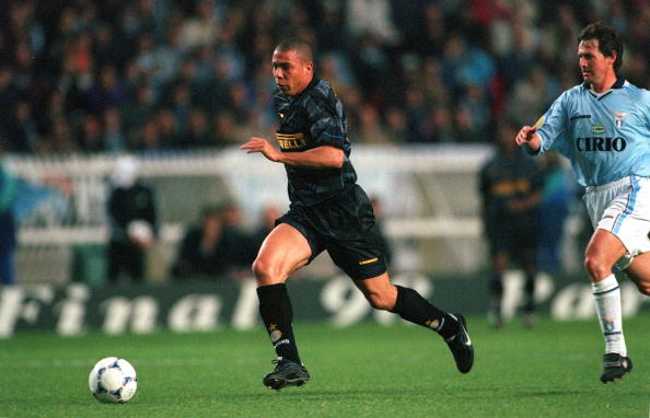 Football. UEFA Cup Final. Paris, France. 6th May 1998. Inter Milan 3 v Lazio 0. Inter Milan's Ronaldo.