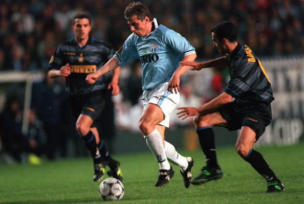 Football. UEFA Cup Final. Paris, France. 6th May 1998. Inter Milan 3 v Lazio 0. Lazio's Vladimir Jugovic under pressure from Inter Milan's Youri Djorkaeff.