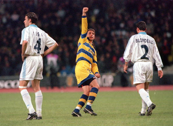 Football. 1999 UEFA Cup Final. Moscow. 12th May, 1999. Parma 3 v Marseille 0. Parma's Enrico Chiesa (centre) celebrates after scoring their third goal.