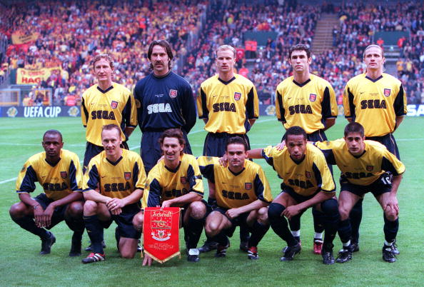 Football. UEFA. Cup Final. 17th. May, 2000. Copenhagen, Denmark. Galatasaray bt. Arsenal, 4-1 on penalties. (0-0 aet). Arsenal team photograph.