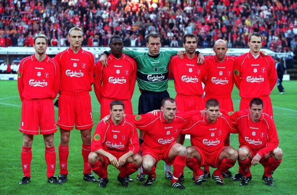 Football. UEFA Cup Final. 16th May 2001. Dortmund, Germany. Liverpool 5 v Deportivo Alaves 4 (on Golden Goal). The Liverpool team line-up prior to the match. Back Row L-R: Stephane Henchoz, Sami Hyypia, Emile Heskey, Sander Westerveld, Markus Babbel, Gary