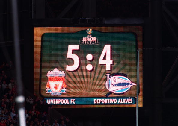 Football. UEFA Cup Final. 16th May 2001. Dortmund, Germany. Liverpool 5 v Deportivo Alaves 4 (on Golden Goal). The electronic scoreboard in the stadium shows the final score of 5-4 following the dramatic Golden Goal decider.