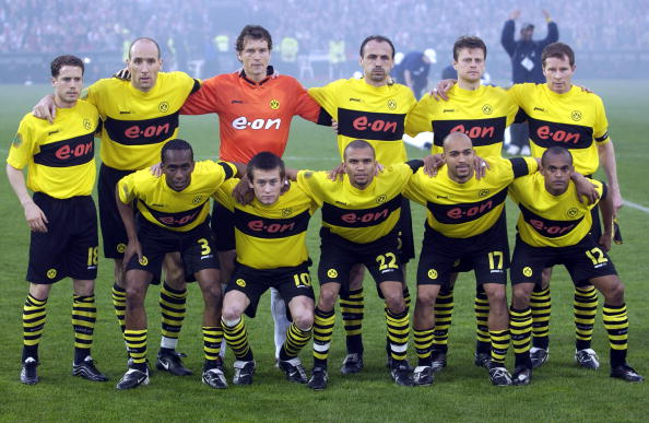 PF Football. UEFA Cup Final. Rotterdam. Holland. 8th May 2002. Feyenoord 3 v Borussia Dortmund 2. Dortmund team group before the match.