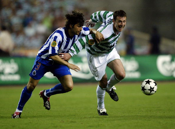 Chris Sutton of Celtic and Pedro Emanuel of FC Porto