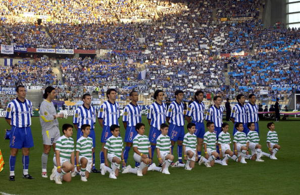 PF Football. UEFA Cup Final. Seville, Spain. 21st May 2003. Celtic 2 v FC Porto 3 ( after Extra Time). The Porto team line up before the match.