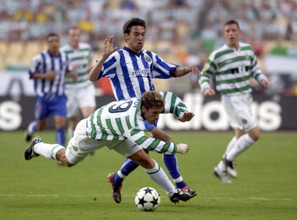PF Football. UEFA Cup Final. Seville, Spain. 21st May 2003. Celtic 2 v FC Porto 3 ( after Extra Time). Celtic's Stilian Petrov with Porto's Paulo Ferreira.