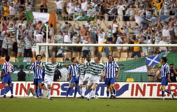 PF Football. UEFA Cup Final. Seville, Spain. 21st May 2003. Celtic 2 v FC Porto 3 ( after Extra Time). Celtic's Henrik Larsson celebrates after scoring his sides second gaol.