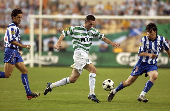 PF Football. UEFA Cup Final. Seville, Spain. 21st May 2003. Celtic 2 v FC Porto 3 ( after Extra Time). Celtic's Paul Lambert watched by Porto's Nuno Valente.