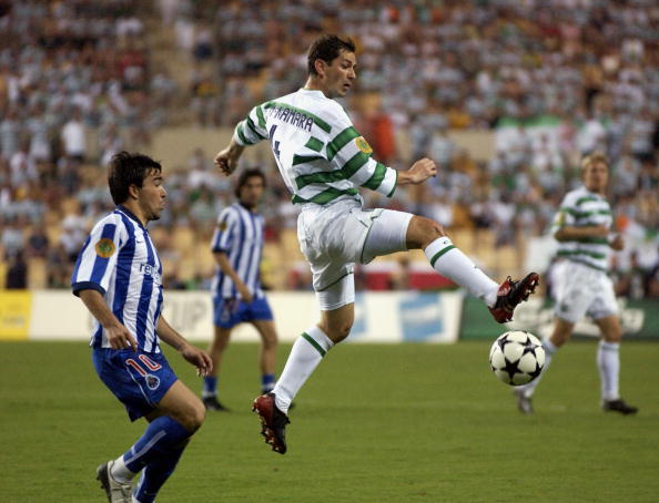 PF Football. UEFA Cup Final. Seville, Spain. 21st May 2003. Celtic 2 v FC Porto 3 ( after Extra Time). Celtic's Jackie McNamara with Porto's Deco.
