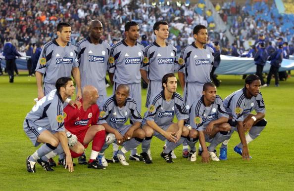 Sport. Football. UEFA Cup Final. Gothenburg. 19th May 2004. Valencia CF 2 v Olympic Marseille 0. The Marseille team group