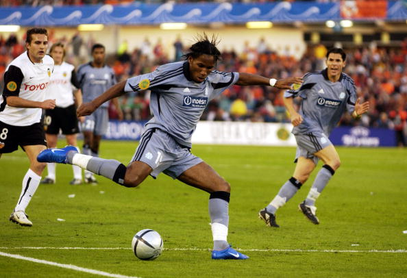 BT Sport. Football. UEFA Cup Final. Gothenburg. 19th May 2004. Valencia CF 2 v Olympic Marseille 0. Didier Drogba of Marseille.