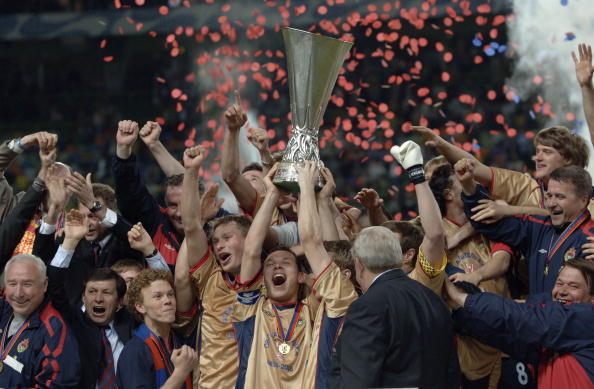 BT Sport, Football, UEFA Cup Final, Lisbon, 18th May 2005, Sporting Lisbon 1 v CSKA Moscow 3, Captain of Moscow Sergey Ignashevich celebrates as he lifts the trophy while surrounded by his team