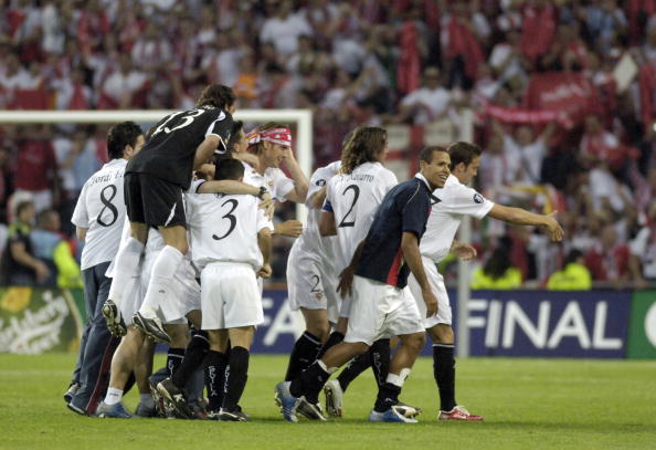 BT Sport. Football. UEFA Cup Final. Eindhoven. 10th May 2006. Middlesbrough 0 v Sevilla 4. Sevilla players celebrate victory.