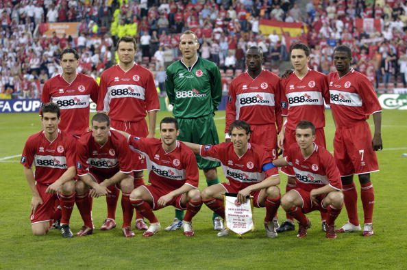 Sport. Football. UEFA Cup Final. Eindhoven. 10th May 2006. Middlesbrough 0 v Sevilla 4. Middlesbrough team group