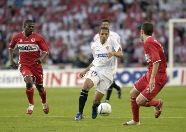 BT Sport. Football. UEFA Cup Final. Eindhoven. 10th May 2006. Middlesbrough 0 v Sevilla 4. Adriano of Sevilla.