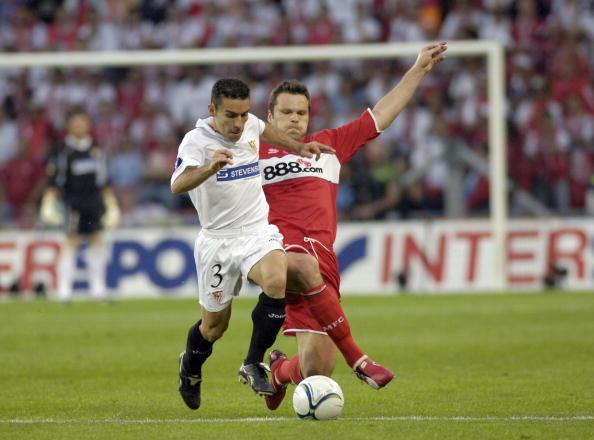 BT Sport. Football. UEFA Cup Final. Eindhoven. 10th May 2006. Middlesbrough 0 v Sevilla 4. David of Sevilla with Middlesbrough's Mark Viduka.