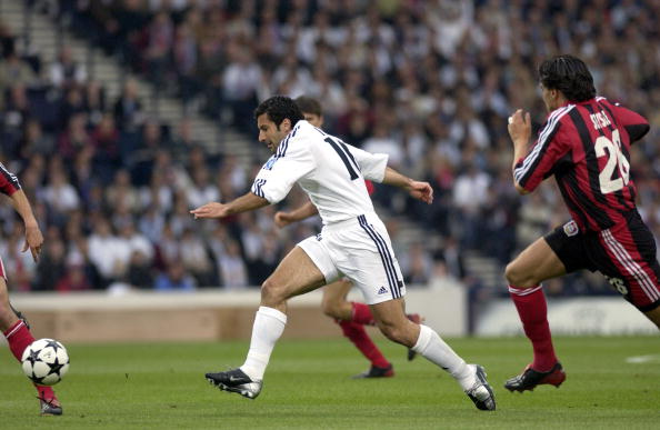 PF Football. UEFA Champions League Final. Hampden Park, Glasgow. 15th May 2002. Real Madrid 2 v Bayer Leverkusen 1. Real Madrid's Luis Figo runs with the ball.