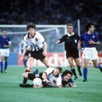 1990 World Cup Finals, Rome, Italy, 9th June, 1990, Italy 1 v Austria 0, Italy's Roberto Donadoni is fouled by Austria's Schoettel and Michal Streiter