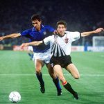 1990 World Cup Finals, Rome, Italy, 9th June, 1990, Italy 1 v Austria 0, Italy's Paolo Maldini battles for the ball with Austria's Alfred Hortnagel