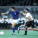 1990 World Cup Finals, Rome, Italy, 9th June, 1990, Italy 1 v Austria 0, Italy's Gianluca Vialli takes the ball past Austria's Kurt Russ as he pulls his shirt
