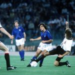1990 World Cup Finals, Rome, Italy, 9th June, 1990, Italy 1 v Austria 0, Italy's Giuseppe Giannini is challenged by an Austrian defender